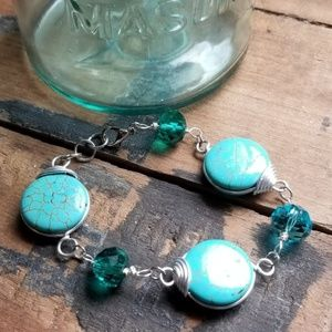 Turquoise Dyed Howlite & Silver Bracelet